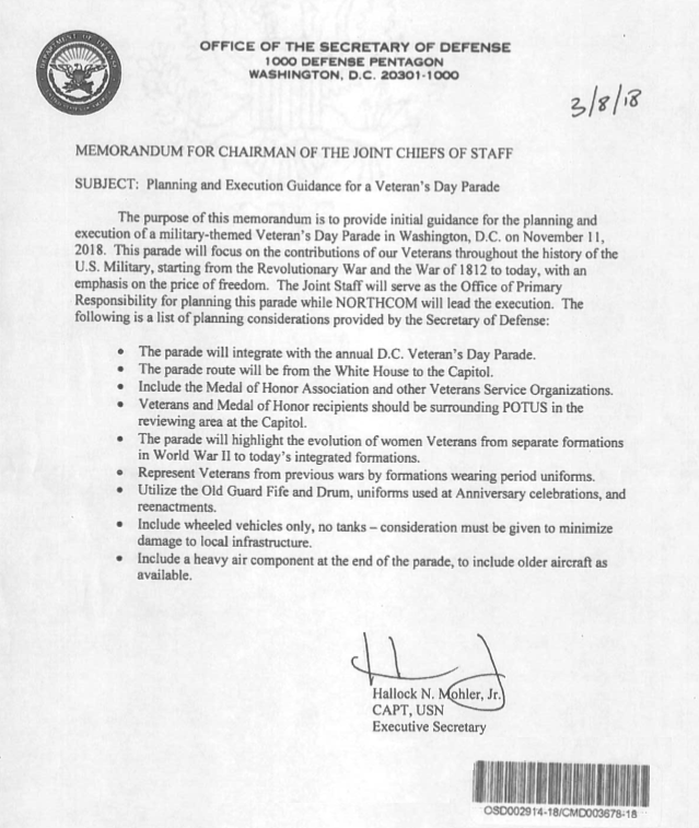 veterans day parade memo